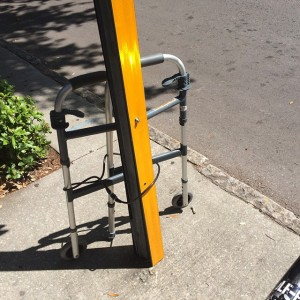 Only in downtown #StPete do you find a walker locked…