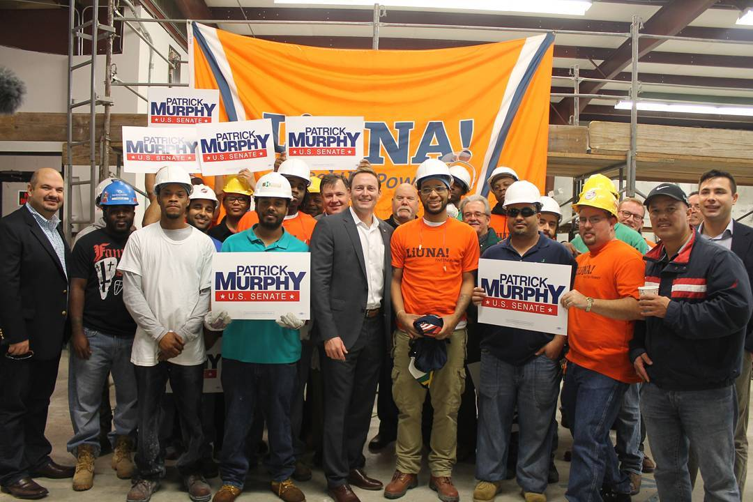 On Friday, the Laborers' International Union of North America (LIUNA) endorsed Patrick Murphy for U.S. Senate at an event in Palm Beach Gardens. #FlaPol