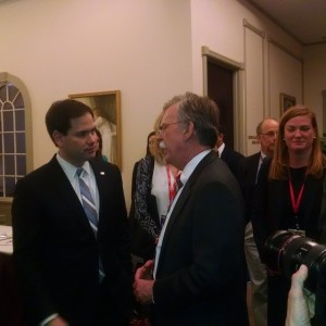Marco Rubio with John Bolton Friday night in Nashua, NH