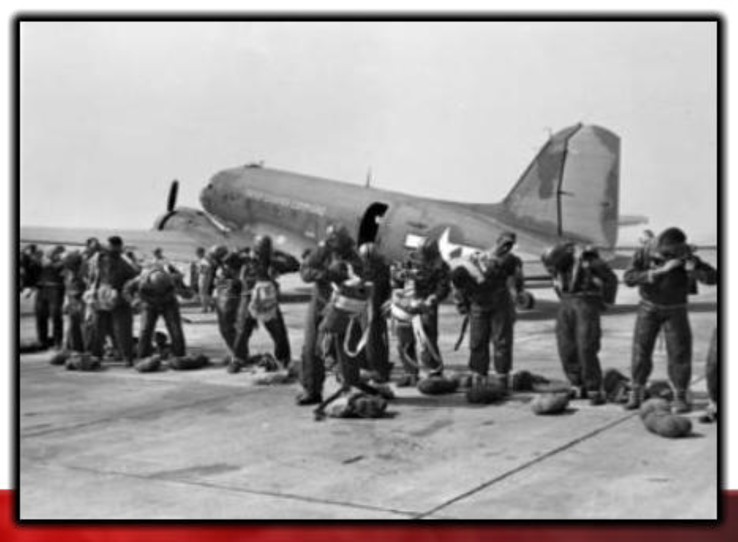 The 555th preparing for a fire fighting jump in WWII